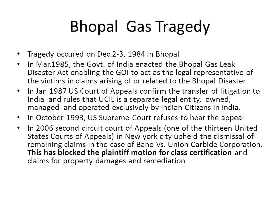 Bhopal Gas Tragedy Tragedy occured on Dec.2-3, 1984 in Bhopal