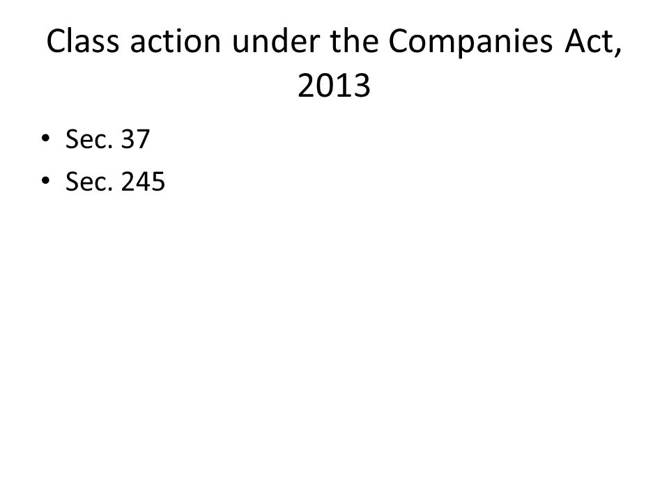 Class action under the Companies Act, 2013