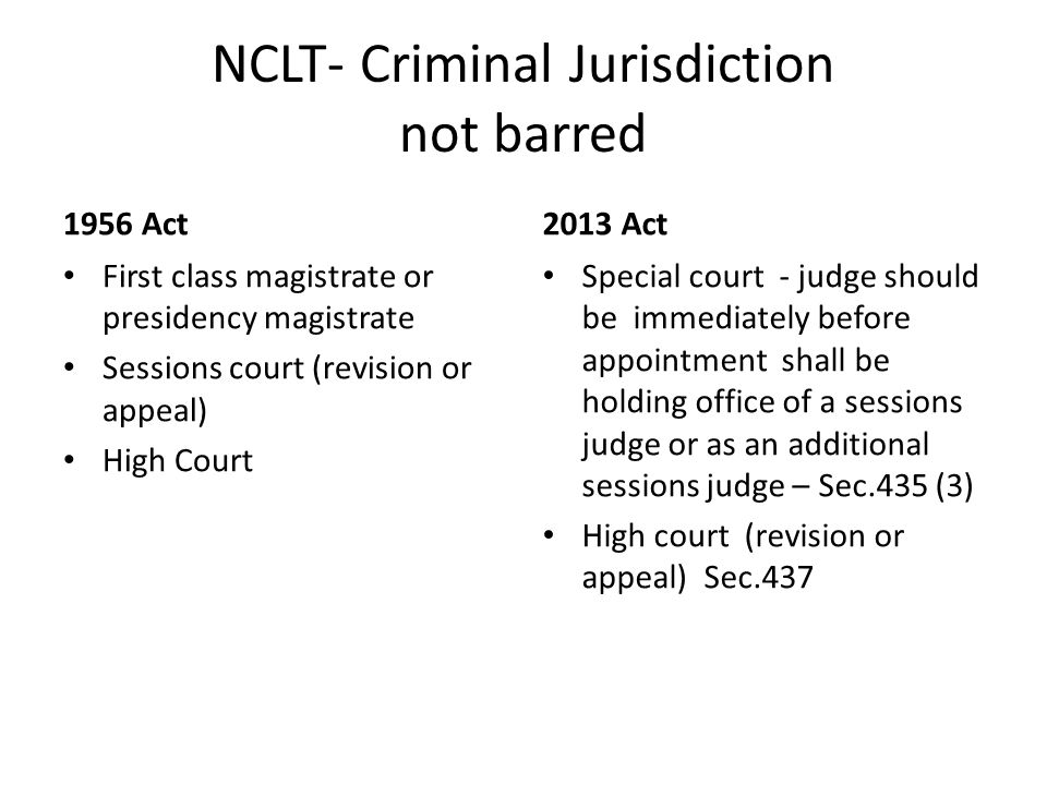 NCLT- Criminal Jurisdiction not barred