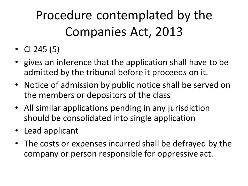 Procedure contemplated by the Companies Act, 2013