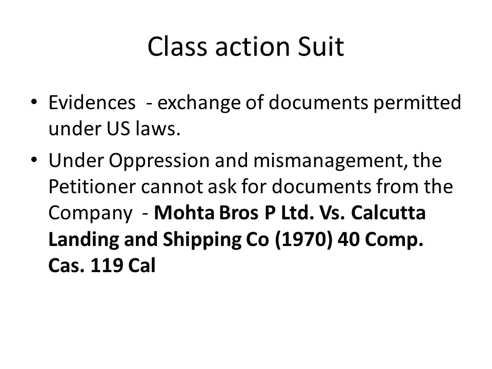 Class action Suit Evidences - exchange of documents permitted under US laws.