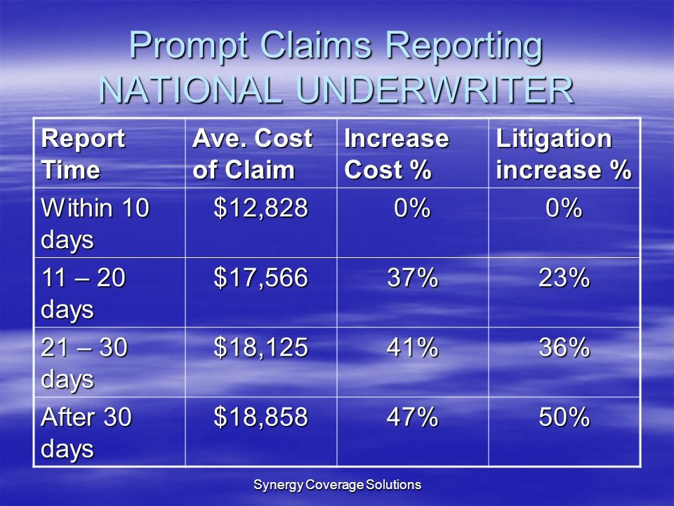 Prompt Claims Reporting NATIONAL UNDERWRITER