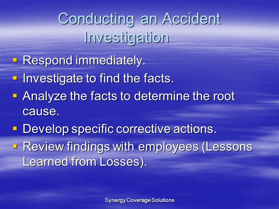 Conducting an Accident Investigation