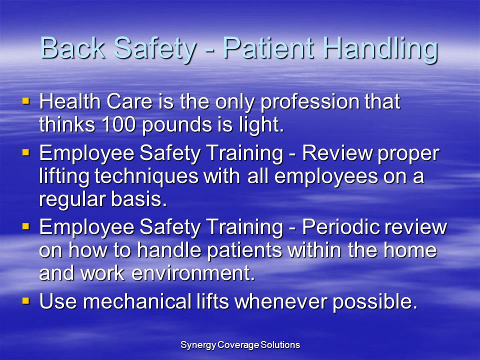 Back Safety - Patient Handling