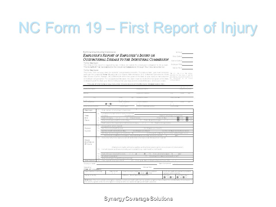 NC Form 19 – First Report of Injury