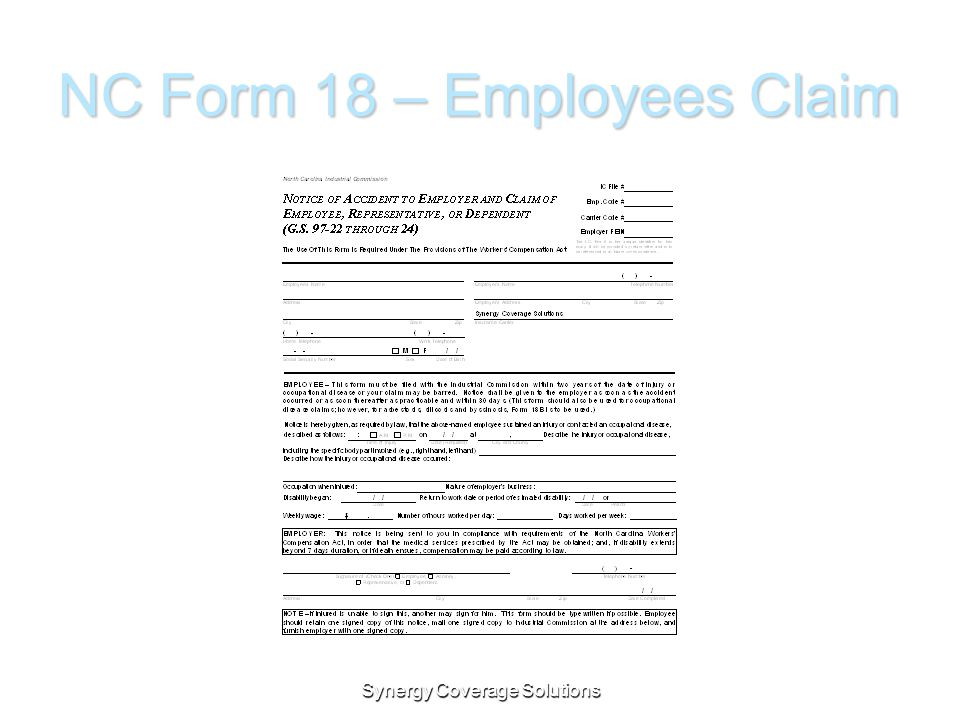 NC Form 18 – Employees Claim