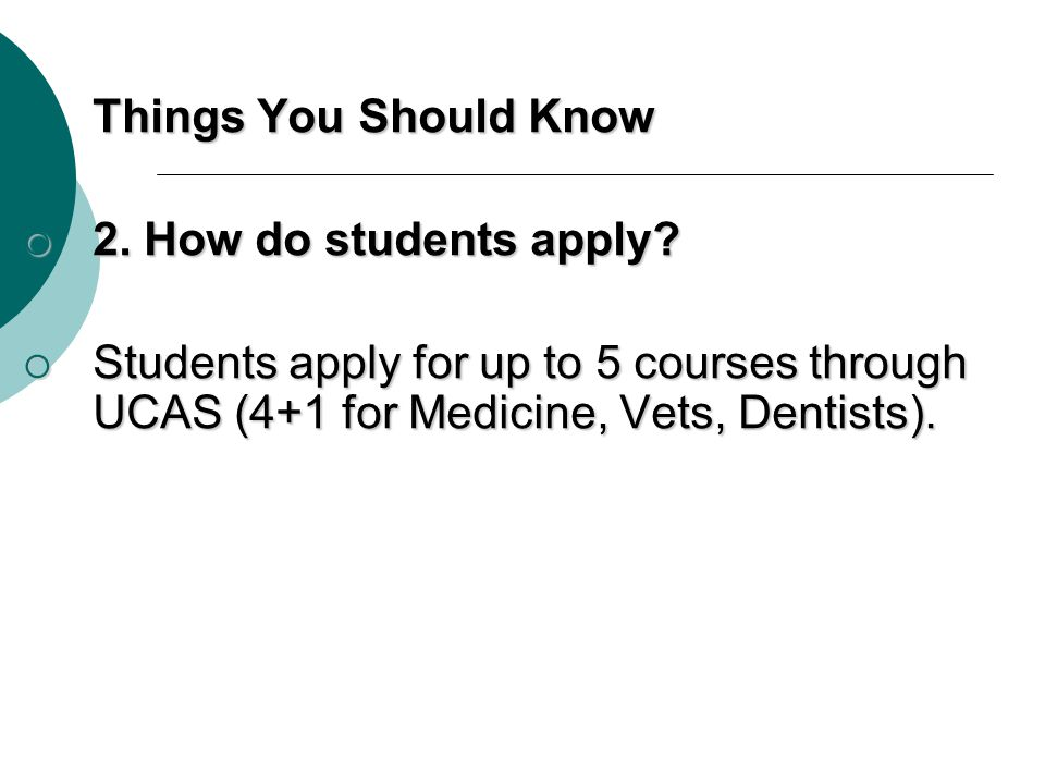 Things You Should Know 2. How do students apply.