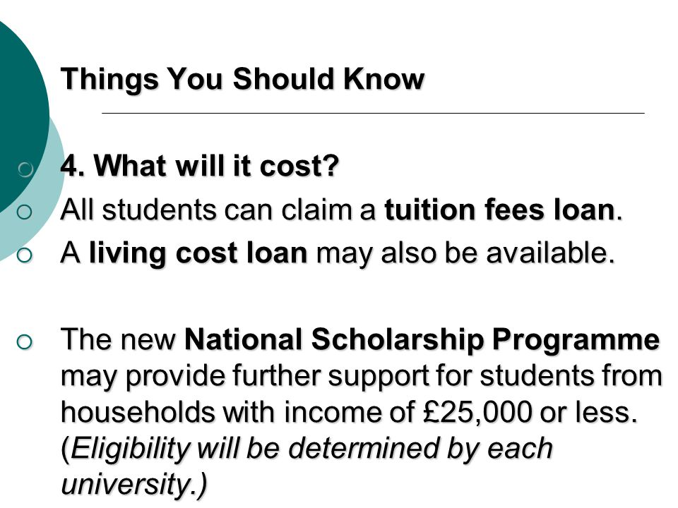 Things You Should Know 4. What will it cost All students can claim a tuition fees loan. A living cost loan may also be available.