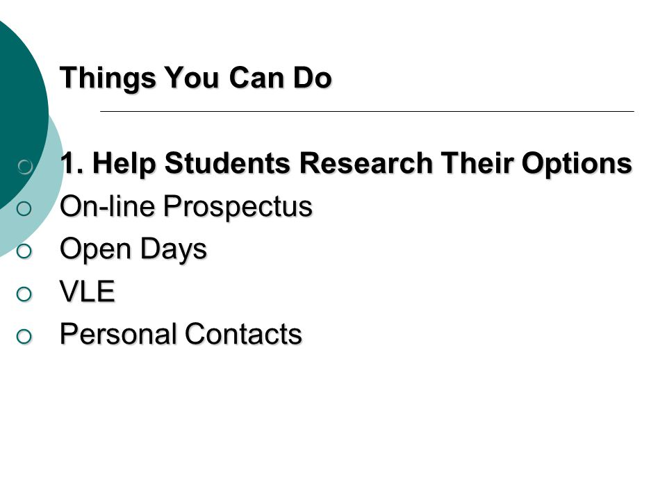 Things You Can Do 1. Help Students Research Their Options.