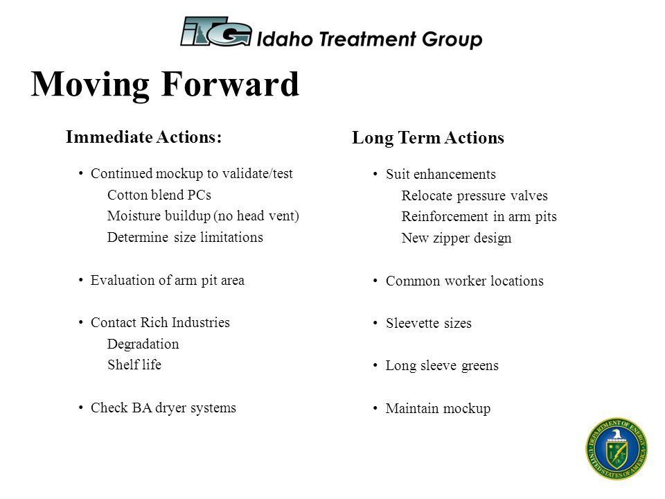 Moving Forward Immediate Actions: Long Term Actions
