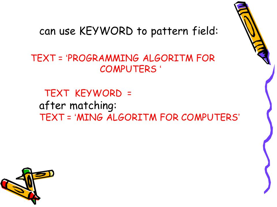 can use KEYWORD to pattern field: