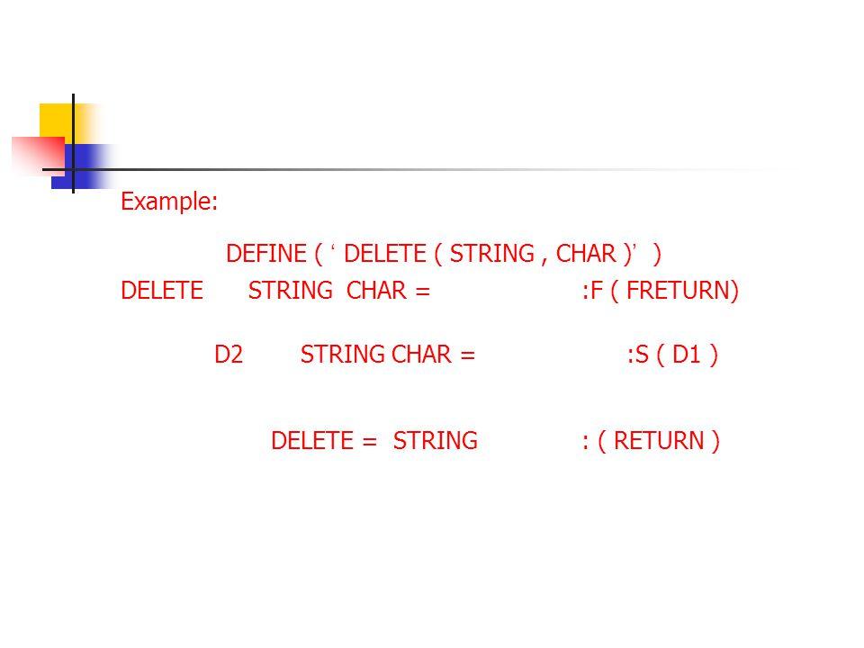 Example: DEFINE ( ' DELETE ( STRING , CHAR )' ) DELETE STRING CHAR = :F ( FRETURN)