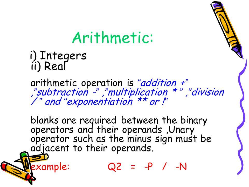 Arithmetic: