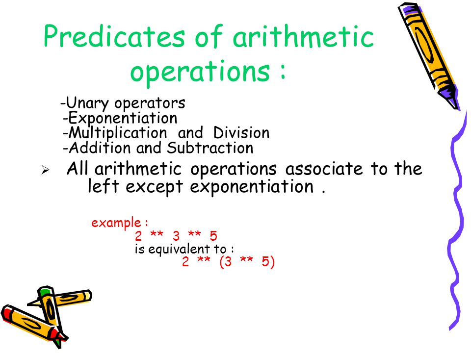 Predicates of arithmetic operations :