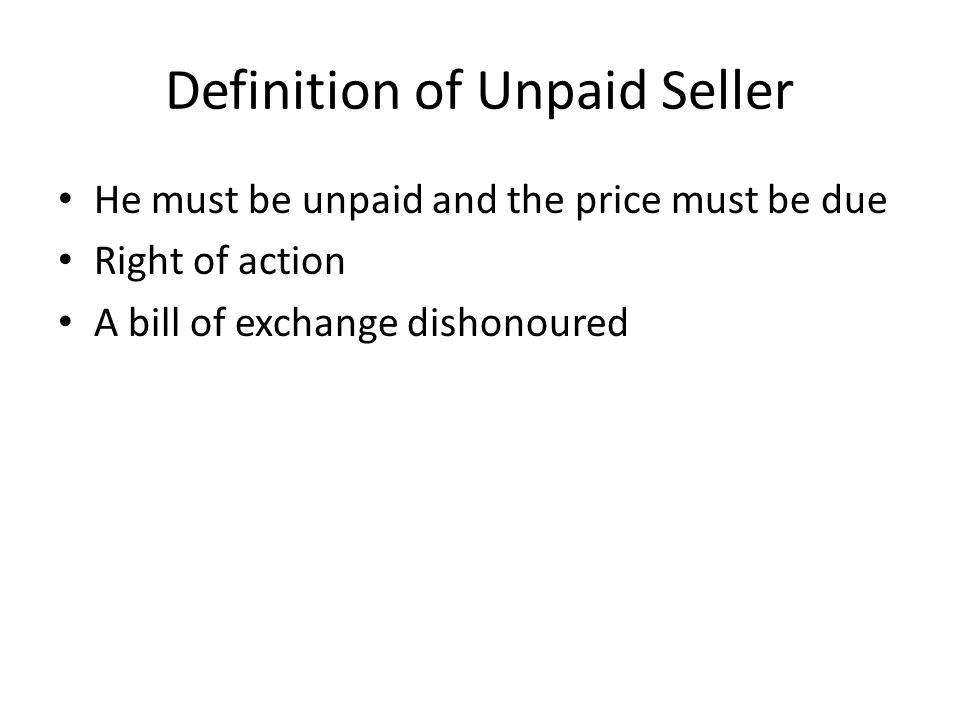 Definition of Unpaid Seller
