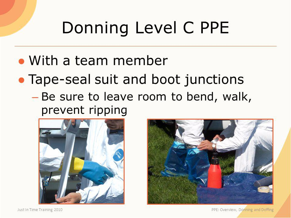 Donning Level C PPE With a team member