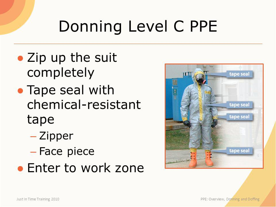 Donning Level C PPE Zip up the suit completely