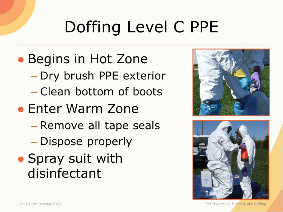 Doffing Level C PPE Begins in Hot Zone Enter Warm Zone