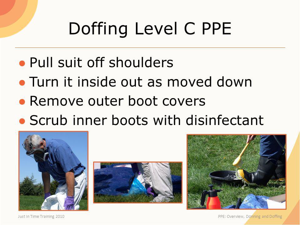 Doffing Level C PPE Pull suit off shoulders