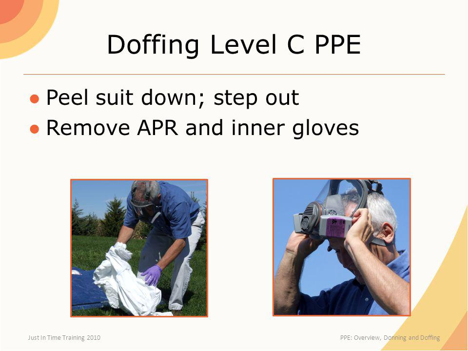 Doffing Level C PPE Peel suit down; step out