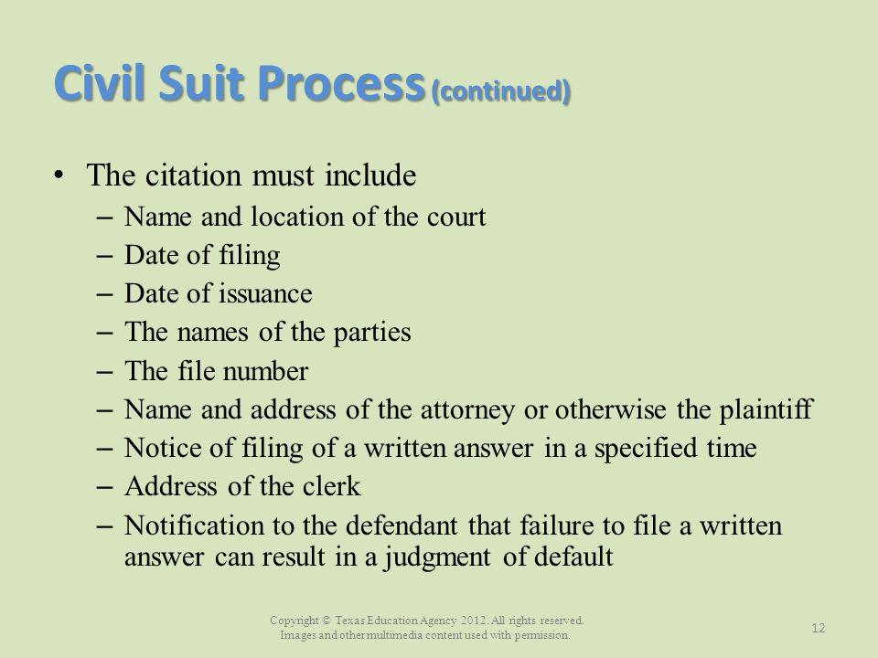 Civil Suit Process (continued)