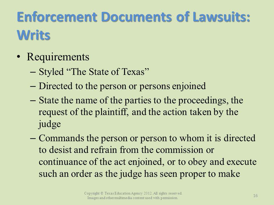 Enforcement Documents of Lawsuits: Writs