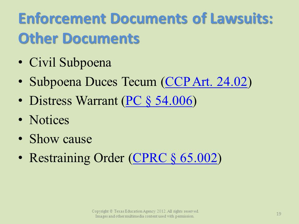 Enforcement Documents of Lawsuits: Other Documents