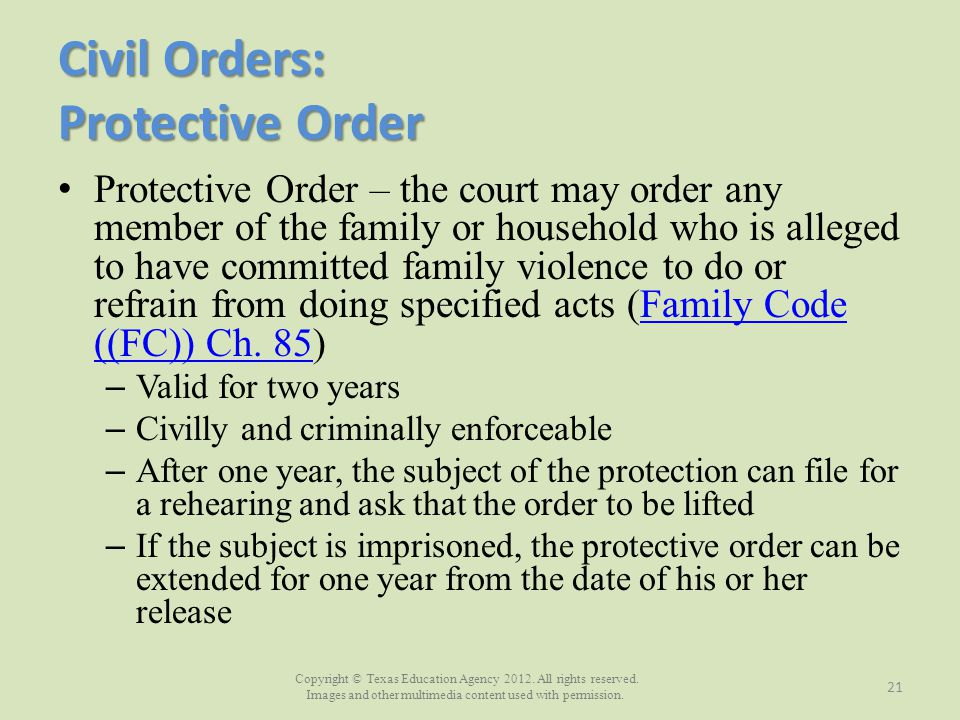 Civil Orders: Protective Order