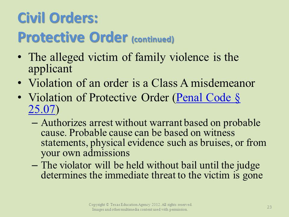 Civil Orders: Protective Order (continued)