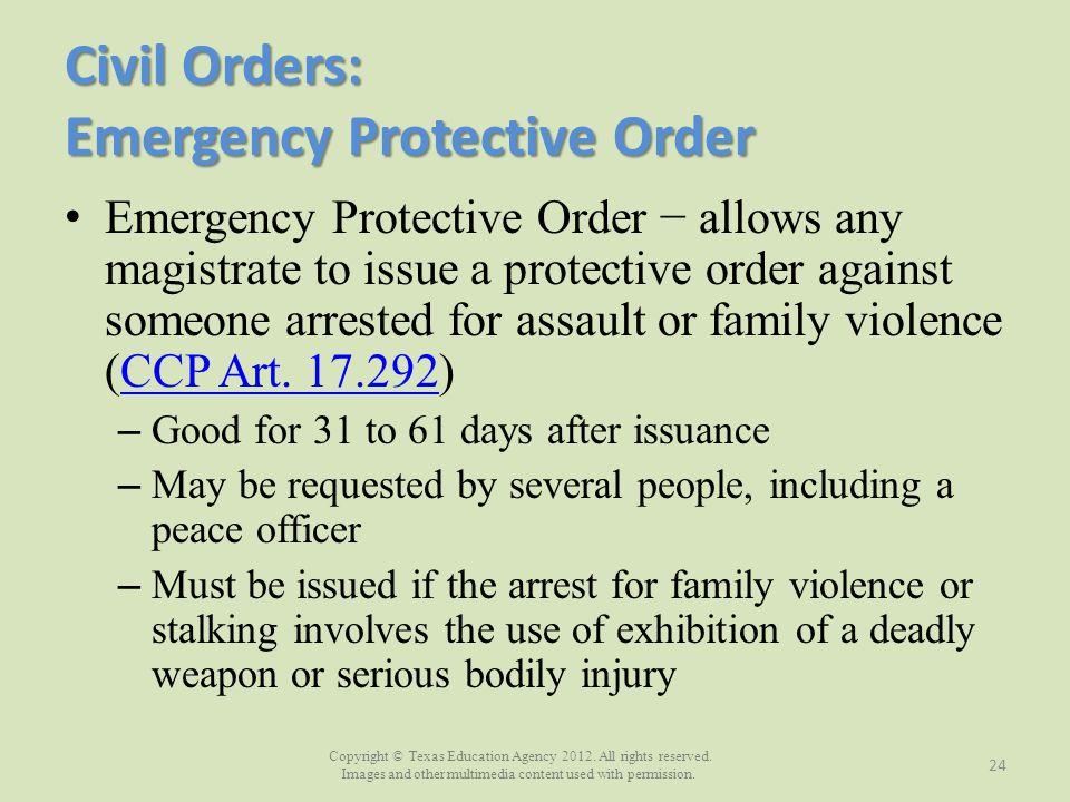Civil Orders: Emergency Protective Order