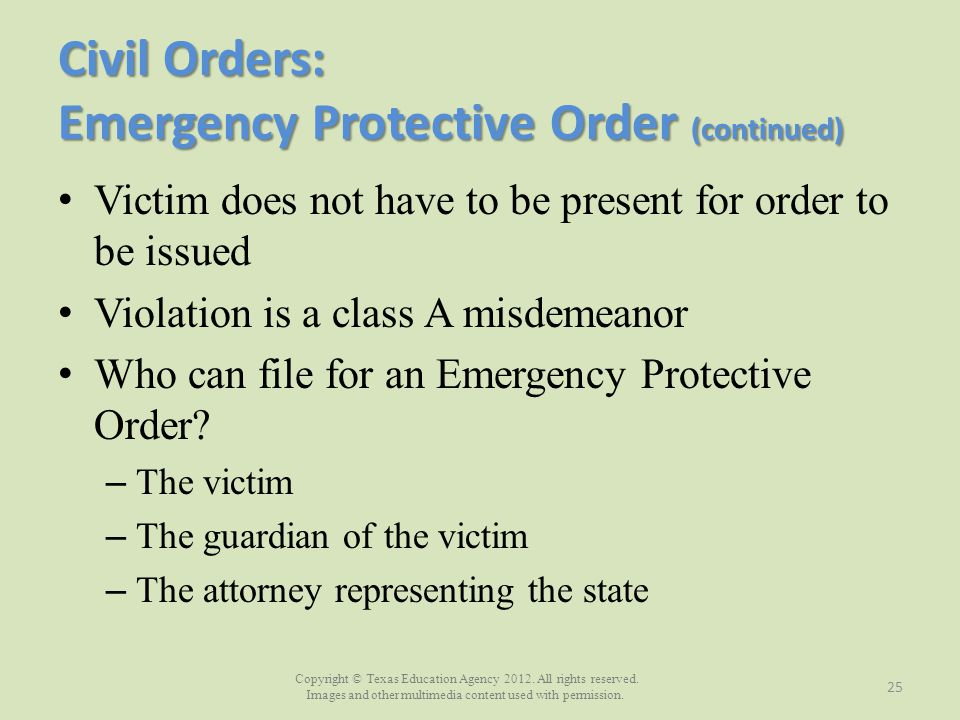 Civil Orders: Emergency Protective Order (continued)
