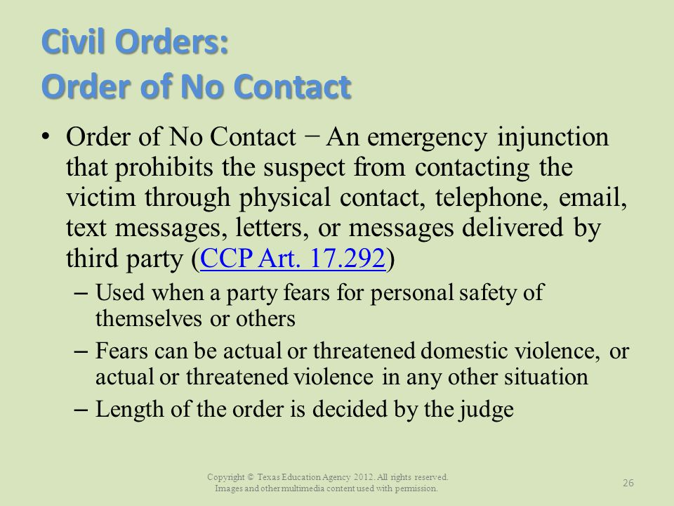 Civil Orders: Order of No Contact