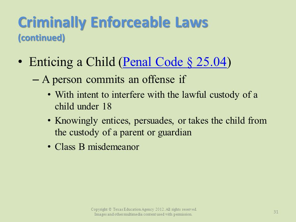 Criminally Enforceable Laws (continued)