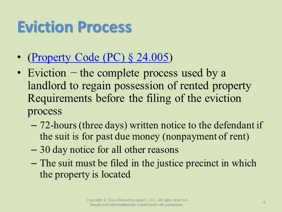 Eviction Process (Property Code (PC) § 24.005)