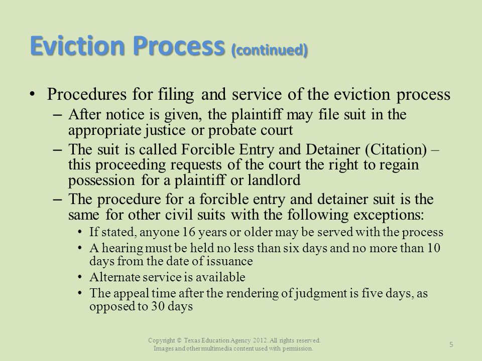 Eviction Process (continued)