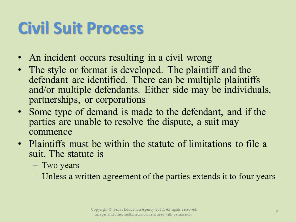 Civil Suit Process An incident occurs resulting in a civil wrong