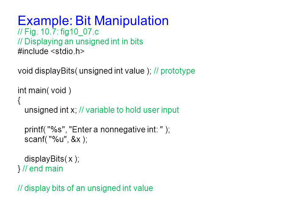 Example: Bit Manipulation