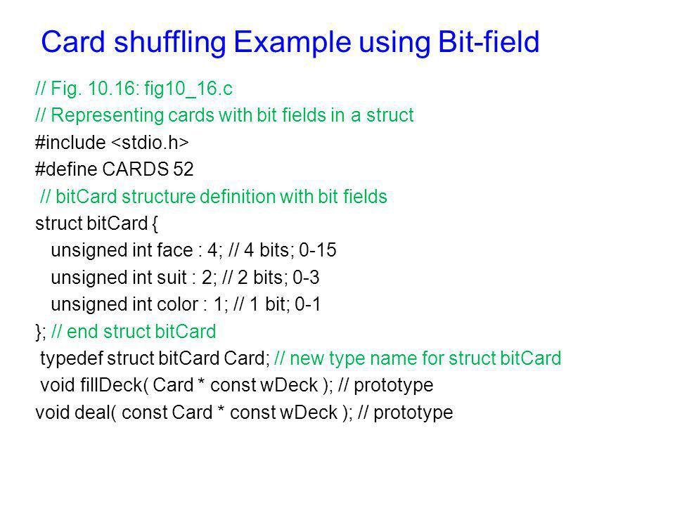 Card shuffling Example using Bit-field