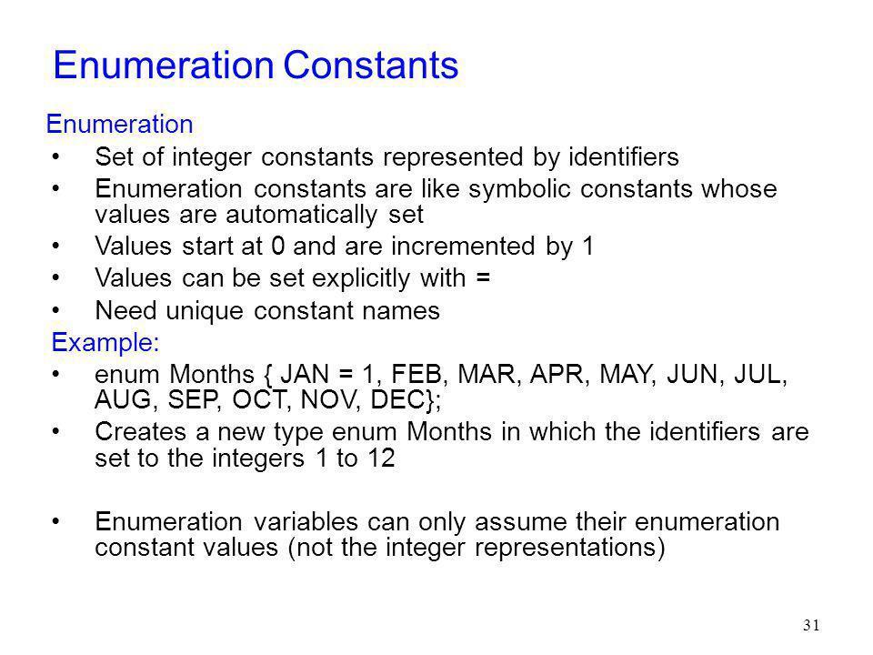 Enumeration Constants