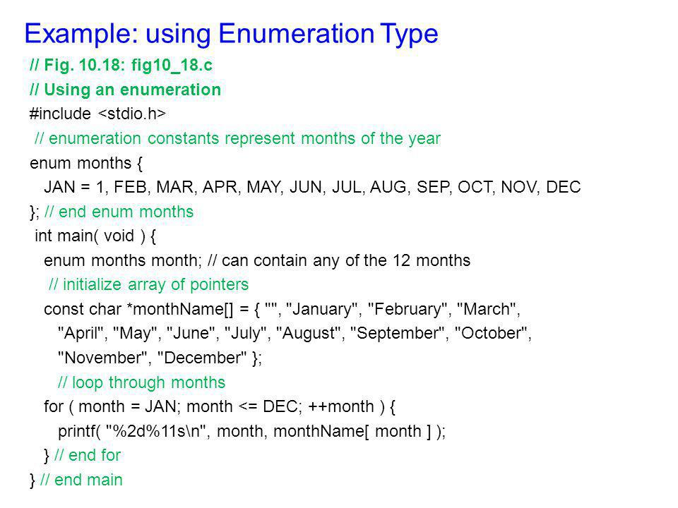 Example: using Enumeration Type