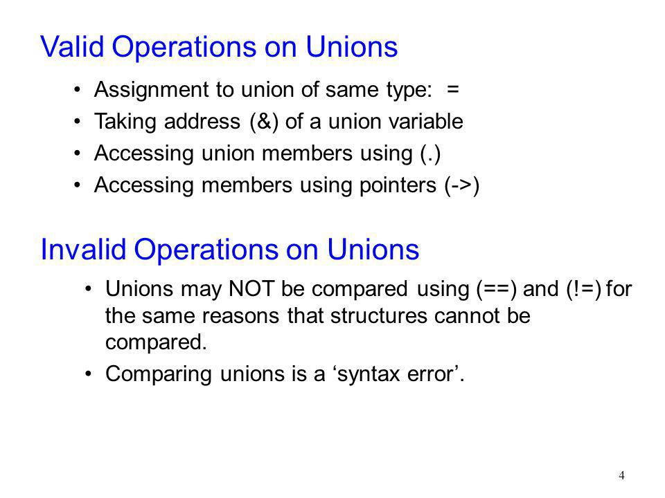 Valid Operations on Unions
