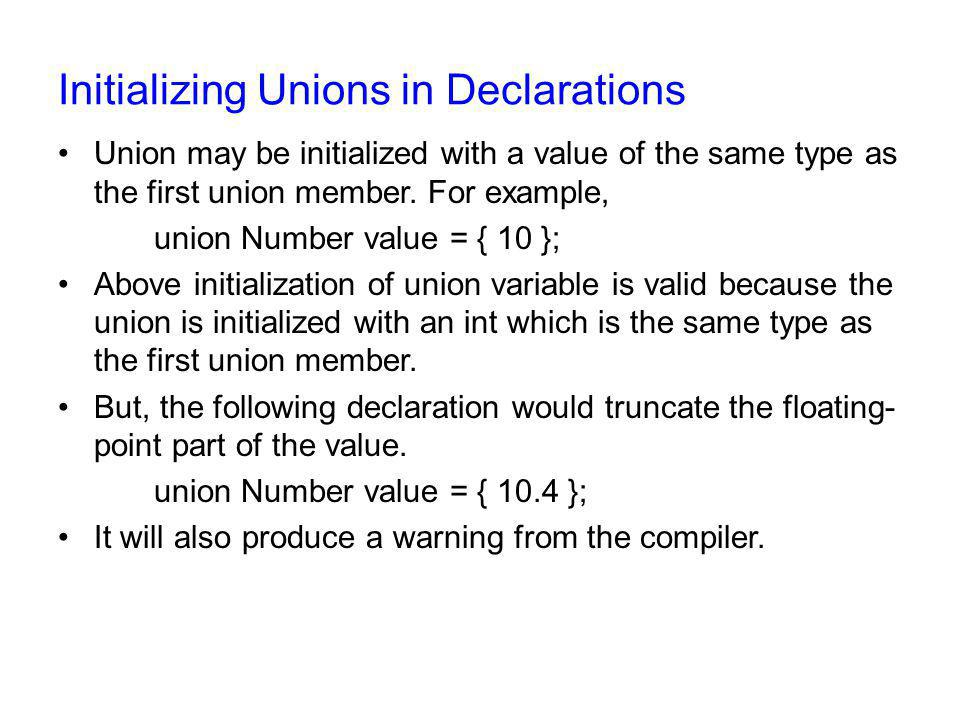 Initializing Unions in Declarations