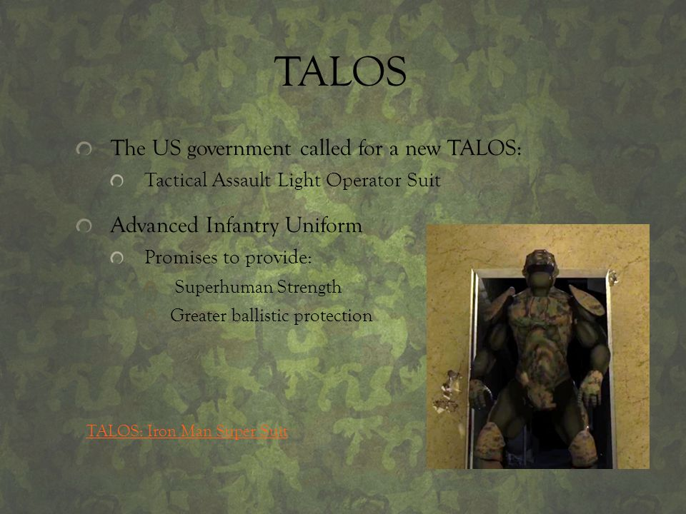 TALOS The US government called for a new TALOS: