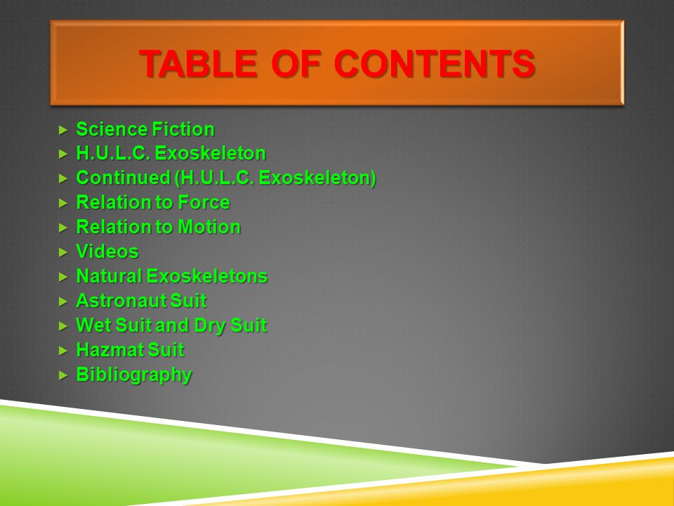 Table of contents Science Fiction H.U.L.C. Exoskeleton