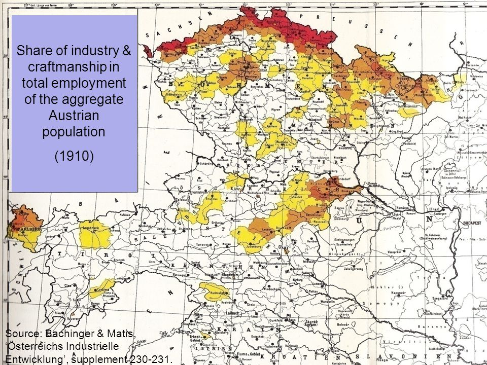 Share of industry & craftmanship in total employment of the aggregate Austrian population