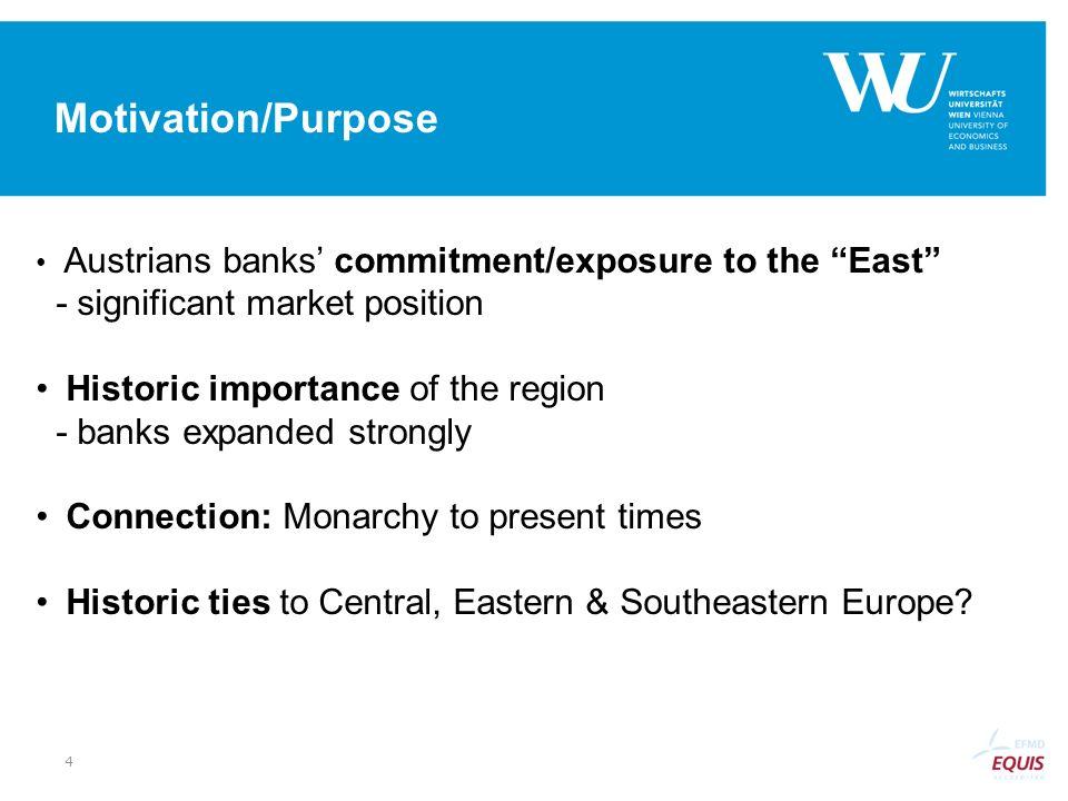 Motivation/Purpose Austrians banks' commitment/exposure to the East - significant market position.
