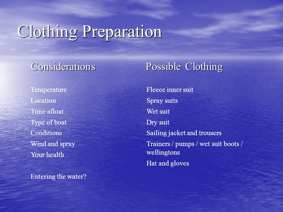 Clothing Preparation Considerations Possible Clothing Temperature