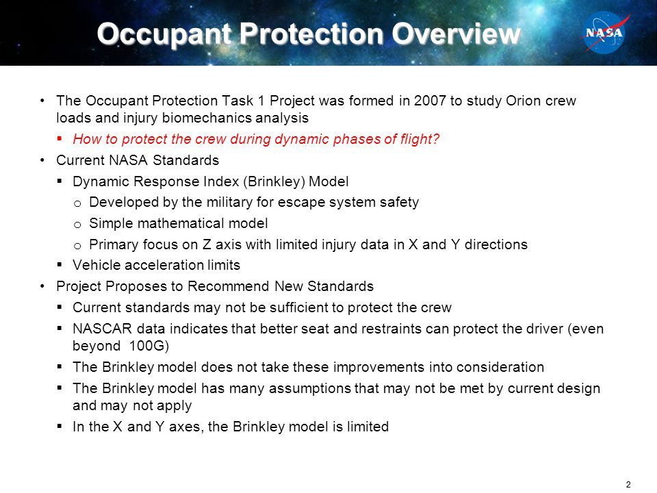 Occupant Protection Overview