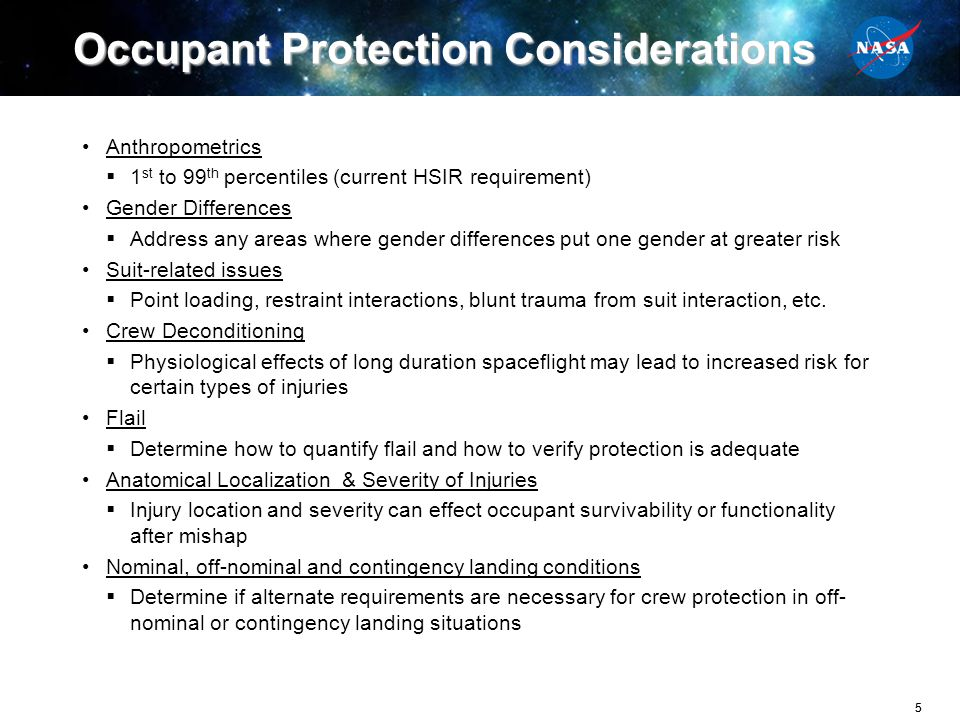 Occupant Protection Considerations