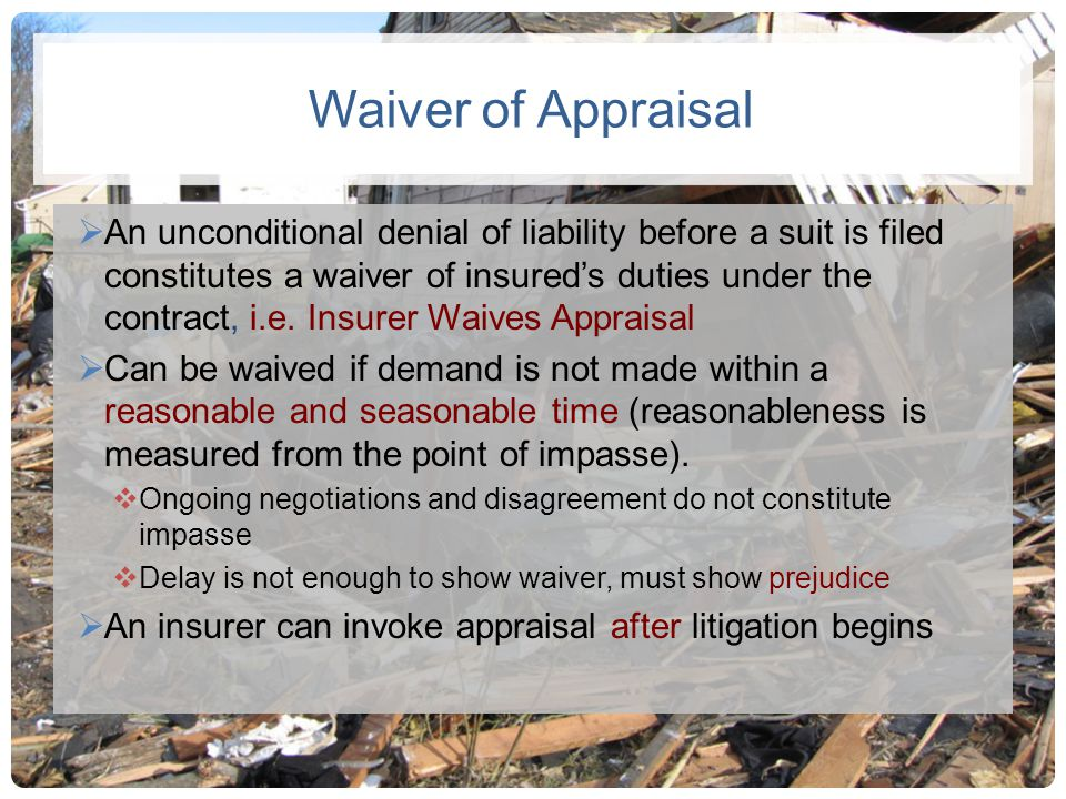 Waiver of Appraisal